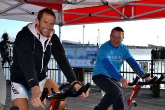 Halfway through the cyclathon @MermaidQuay today with @68martyn @cardiff2paris15 @tenovuscancer keeping fit #charity